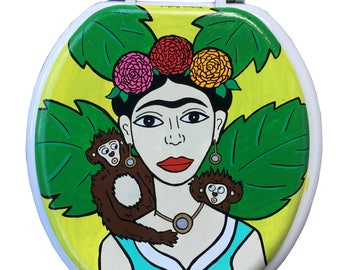 Frida Kahlo Hand Painted Toilet Seat Bathroom Repair Art Gift Feminism
