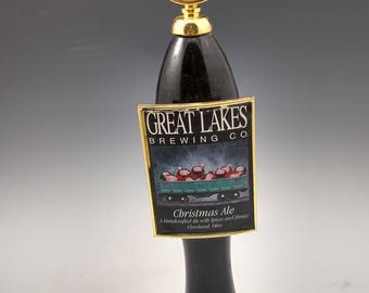 Bar used beer tap made into a hat rack or coat rack.  Great lakes Christmas ale beer,  Cleveland Ohio Made.  Reclaimed