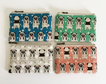 Mini zipper pouch  -pug (4 colours)