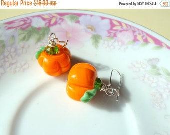 SALE Pumpkin Earrings, Thanksgiving Jewelry, Halloween Earring, Lampwork Glass Pumpkin Earring, Orange Pumpkin Earring, Autumn Fall Earring