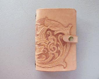 Leather Moleskine Notebook Cover, Small journal Cover, Field Notes Book Cover, 3 1/2 by 5 1/2 Book, Carved and Tooled Leather, Sheridan