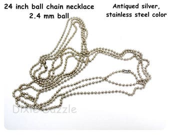 50 Antiqued silver ball chain necklaces, 24 inches ball chain, stainless steel tone, 2.4mm bead size,  ball chain, dogtag necklace