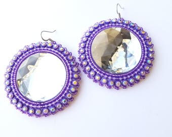 Purple Native Beaded Earrings