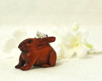 Bunny Ojime Rabbit Necklace Cooper Super Dooper - Rabbit Pendant - Bunny Jewelry - Pet Bunny Rabbit - Bunny Necklace  - Rabbit Jewelry