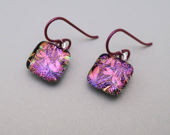 Dichroic Glass earrings Dragonfly Magenta fused glass Jewelry dangle dichroic earrings  Niobium hypo allergenic ear wires violet pink glass