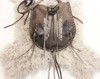 Taupe Studded Crossbody Bag