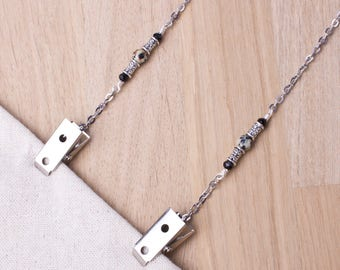 Gemstone napkin chain - Dalmatian Jasper silver serviette clip | Elegant Napkin clips |  Napkin holder neck cord | Foodie gifts | Diner clip
