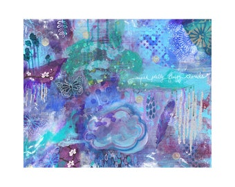 abstract, cloud, boho, bohemian, intuitive art, purple, teal, rain,  butterfly, mixed media, mandala,  feather, nature, dreamy, dreamland