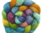 WENSLEYDALE roving top handdyed spinning fibre 3.2 oz