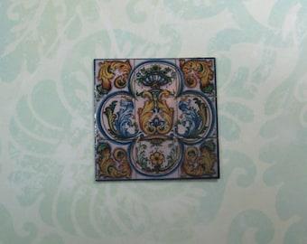 Dollhouse Miniature Elegant Square Italian Tile Mural
