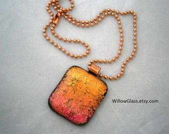 Dichroic Fused Glass Pendant in  Orange and Pink, Dichroic Jewelry, Pendant, Willow Glass