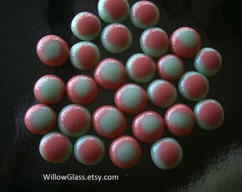 Fused Glass Cabochons, 27 Opalescent  Mint and Salmon Pink Glass Cabs, Willow Glass