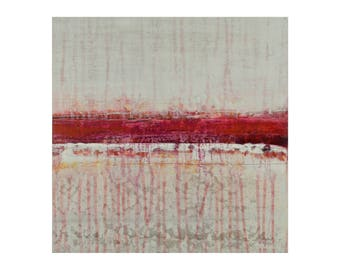"""ORIGINAL Abstract Painting on Wood 12x12"""" Minimalist Landscape Art, GeoHorizon 121 by Lisa Carney, White, Ivory, Gray, Red, Magent, Yellow"""