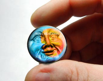 Duo Sun Moon Face Glass Cabochon  - for Jewelry and Pendant Making
