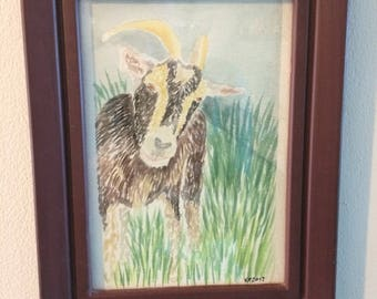 Original watercolor 4x6.5 inch goat painting in green blue and brown