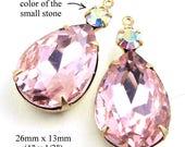 Pink Glass Beads - Rhinestone Earrings or Pendants - Duo Settings - 26mm x 13mm with 18x13 Teardrop - Bridesmaid Jewels - One Pair