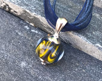 Pendant Necklace - Lampwork Necklace - Navy Blue and Yellow Swirl