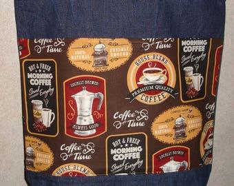 New Large Handmade Coffee Java Shop Labels Brands Barista Denim Tote Bag