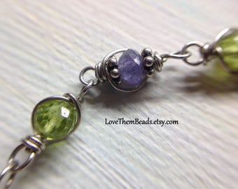 Peridot & Tanzanite Bracelet, August, December Birthstone, Green, Purple Gemstone Bracelet, argentium sterling silver wire wrapped links