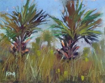 Florida painting Palm Trees scrub Seascape Beach  ART Original Pastel Painting