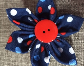 Patriotic, Red White Blue, Polka Dot, Fabric Flower Brooch Pin