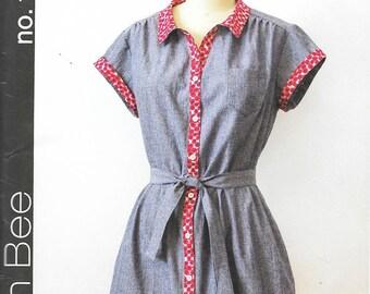 Green Bee Patterns No. 16 - FRANCES Shirt DRESS - Sewing Pattern - Multi Sizes xs-s-m-l-xl-xxl - UNCUT