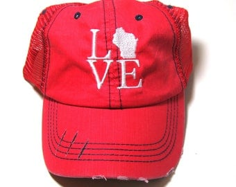 Distressed Trucker Hat - Love Wisconsin Home - All States Available