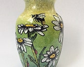 daisy field hand painted glass vase