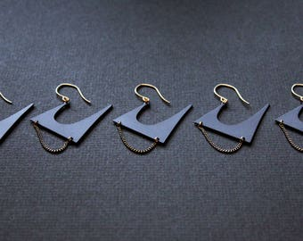 NEW Zoe edgy Earrings - black earrings modern statement handmade jewelry unique large punk matte front back big gold metal