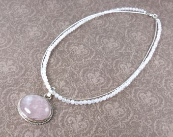 Sterling silver rose quartz necklace