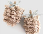 Soft Pinecone Christmas Ornaments, Set of Two Crocheted Pinecones, Christmas in July Sale, Rustic Ornaments, Country Christmas Decorations