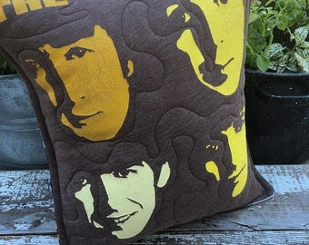SALE- Beatles Throw Pillow-Rock n Roll-Upcycled Eco Friendly-Quilted-