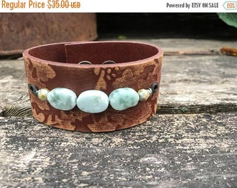 ECLIPSE SALE- Beaded Leather Cuff-Embossed Leather