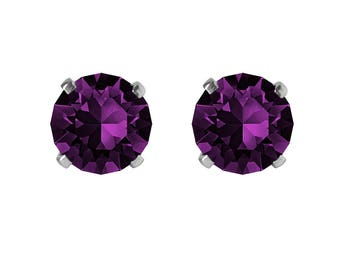 Swarovski Crystal Stud Earrings Sterling Silver Amethyst Purple or CHOICE OF COLOURS
