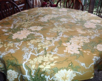 Vintage Tablecloth Gold Cream Green Floral with Birds 53 x 53 inches