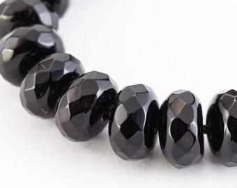 8mm x 5mm Black Onyx Faceted Rondelle (42 Pcs)