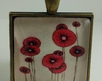 Vintage Poppy Glass Cabochon Pendant