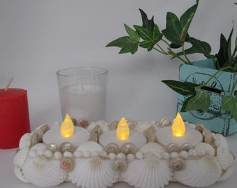 Seashell Tea Light Centerpiece Candle Holder, Holds 3 Tea Light Candles, Mermaid or Beach Theme Party, Wedding or Reception Table Decoration