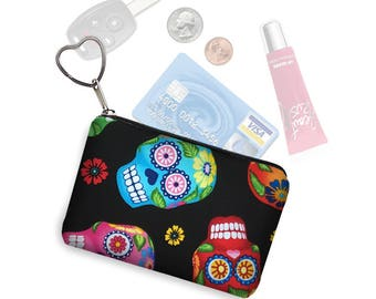 Small Zipper Pouch Coin Purse Keychain Fabric Key Fob Business Card Holder Change Purse cute sugar skulls day of the dead  cute colorful MTO