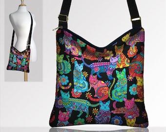 Cat Purse Crossbody Bags Boho Bag Fabric Handbags Hippie Bag Fabric Purses Sling Bag Colorful Cat Lover Gift Bohemian Purse MTO
