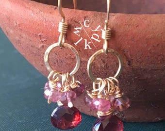 Garnet Earrings, Pink Tourmaline Earrings, Cluster Earrings, Gold Circle Earrings, Gemstone Earrings