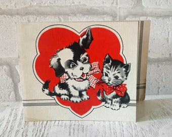1930's Puppy and Kitten Be My Valentine's Greetings Card (B15)