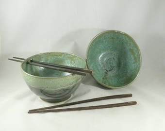 Chopstick Bowl , One Ceramic Rice bowl or noodle bowl in lichen glaze - Thai food or pho bowl , kitchen dinnerware  - Colorado made pottery