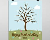 Fingerprint Mother's Day Printable Tree Wall Art INSTANT Download DIY Printable DIY Mother's Day