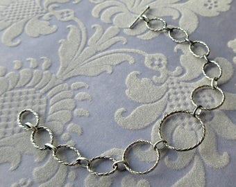 vintage sterling silver filigree link bracelet