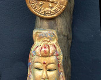 Driftwood Small Wall Hanger with Lady Kwan, Chinese clay coin and hand made bead   DWH 2