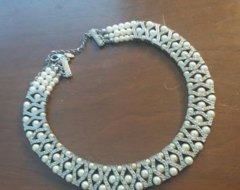Vintage M&S Necklace silver and pearl 50's