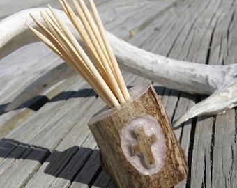 Deer Antler Cross Toothpick Holder