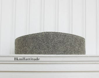 Gray and White Wool Herringbone Headband - Fabric Headbands - Womens Headband - Wool Hair Wrap