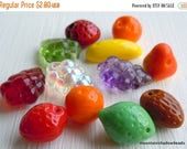 25% OFF Sale Czech Glass Beads - Fruit Beads - Pressed Fruit Beads - 12 Beads Assorted (G - 216)